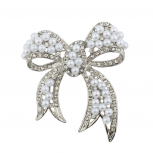 Silver tone Pearl and Pave Rhinestone Casted Bow Brooch Pin