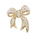 Gold tone Pearl and Pave Rhinestone Casted Bow Brooch Pin