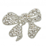 Silver tone Pearl Encrusted Stone Wrap Bow Holiday Brooch Pin
