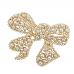 Gold tone Pearl Encrusted Stone Wrap Bow Holiday Brooch Pin