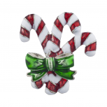 Candy Cane Christmas Holiday Red White and Green Enamel Brooch