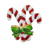 Candy Cane Christmas Holiday Red White Green Enamel Brooch