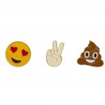 Emoji Smiley Face Peace Sign Poop Enamel Pin Brooch Set (3pc)