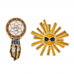 Boho Dreamcatcher Sunshine Enamel Pin Brooch Set (2pc)