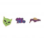 Outerspace Alien Spaceship Good Vibes Enamel Pin Brooch Set(3pc)