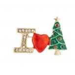 Gold Tone I Love Christmas XMas Tree Brooch Pin
