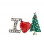 Silver Tone I Love Christmas Xmas Tree Brooch Pin
