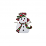 Holiday Christmas Xmas White Red Green Enamel Snowman Brooch Pin