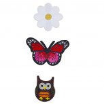 Daisy Flower Butterfly Owl Assorted Patch Set (3pcs)