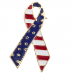 American Flag Gold Tone Independence Day Ribbon Shape Brooch Pin