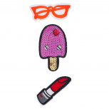 Sunglasses Icecream Bar Lipstick Novelty Iron Patches Set 3PC
