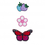 Strawberry, Flower, Butterfly Novelty Iron Patches Set (3PCS)