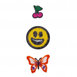 Cherry, Emoji Face and Butterfly Novelty Iron Patches Set (3PCS)