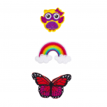 Happy Owl, Rainbow and Butterfly Novelty Iron Patches Set (3PCS)