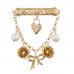 Gold Tone and Pearl Ribbon Flower Heart Chain Brooch Pin