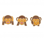 Three Wise Monkeys Emoji Kitschy Pin Brooch Set (3PCS)