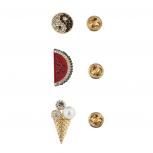 Gold Tone Pave yin Yang Watermelon Icecream Pin Set (3PCS)
