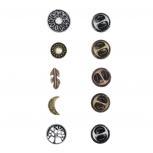 Tri Color Boho Burnish Finish Novelty Pin Brooch Set (5PCS)