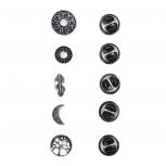 Burnish Silver Boho Burnish Finish Novelty Pin Brooch Set (5PCS)