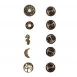 Burnish Gold Boho Burnish Finish Novelty Pin Brooch Set (5PCS)