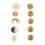 Gold Tone Novelty Emoji yin Yang Rainbow Brooch Pin Set (5PCS)