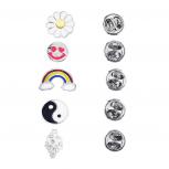 Silver Tone Novelty Emoji yin Yang Rainbow Brooch Pin Set (5PCS)