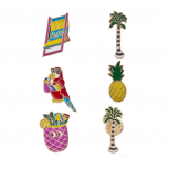 Goldtone Multi Bright Enamel Tropical Summer Vacation Pin Set