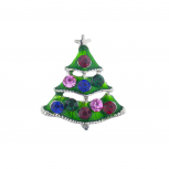 Silvertone Christmas Xmas Holiday Rhinestone Christmas Tree