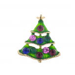 Goldtone Christmas Xmas Holiday Rhinestone Christmas Tree