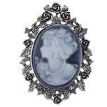 Antique Blue Cameo Brooch Burnished Silver Flower Rhinestone