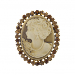 Antique Vintage Brown Cameo Brooch Burnished Gold paver Stones