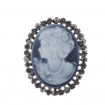Antique Vintage Blue Cameo Brooch Burnished Silver paver Stones