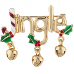 Gold Tone Christmas Xmas Holiday Jingle Jingle Bells Brooch Pin