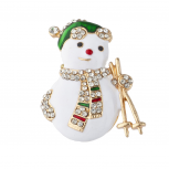 Gold Tone Enamel Christmas Holiday Faux Pave Snowman Brooch Pin