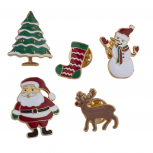 Gold Tone Enamel Christmas Holiday Santa Brooch Pin Set 5PCS