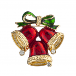 Gold Tone Red Christmas Holiday Jingle Bells Bow Brooch Pin
