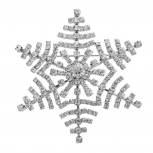 Silver Tone Xmas Holiday Bling Snowflake Novelty Brooch Pin