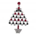 Silver Tone Xmas Holiday Tier Green Christmas Tree Brooch Pin
