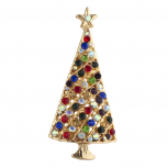 Goldtone Multicolor Rhinestone Christmas Tree Holiday Brooch Pin
