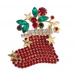 Gold Tone Red Stocking Stuffer Christmas Xmas Novelty Brooch Pin
