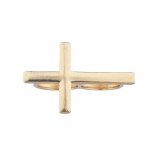 Gold Tone Sideways Cross Double Finger Ring