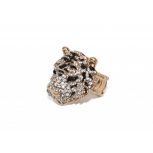 Rhinestone Tiger Cat Black Stone Stretch Ring
