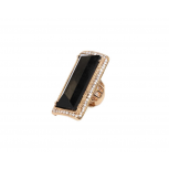 Rhinestone Trimmed Black Stone Geometric Stretch Cocktail Ring