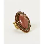 Tan Brown Pointed Oval Stretch Ring