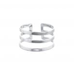 Silver Tone Geo Cut Out Triple Bar Ring
