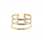 Gold Tone Geo Cut Out Triple Bar Ring