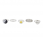 Silver Tone Hippie Daisy Yin Yang Peace Multi Ring Set (5PCS)