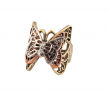 Multi Butterfly Pave Burnished Stretch Ring