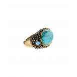 Turquoise & Goldtone Milgrain Stretch Ring