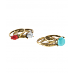 Goldtone & Turquoise Grooved Ring Set